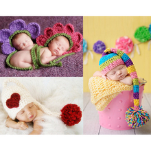 Infant Toddler Winter Hat Handmade Knitted Crochet Baby Flower Hat with Pigtail Ball Bebe Bonnet Photography Props Heart Caps(China)