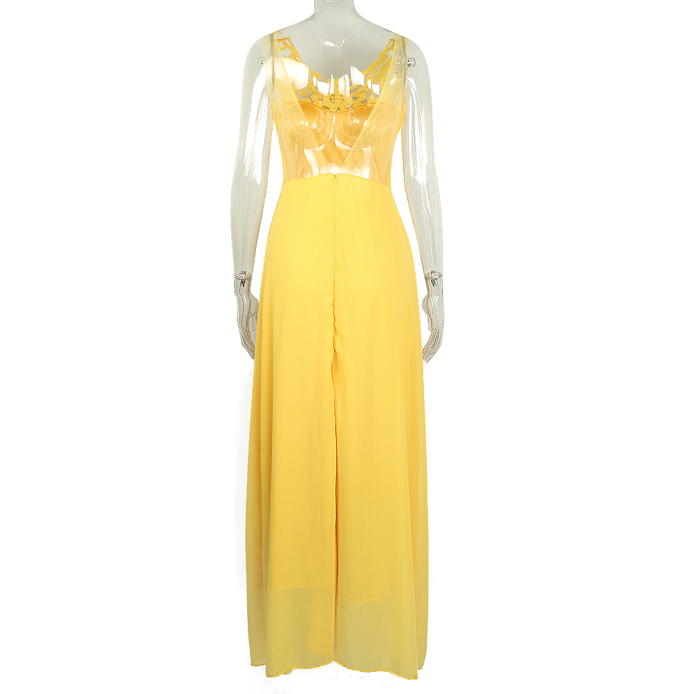 Yellow Lace Hollow Out Women Dresses 5