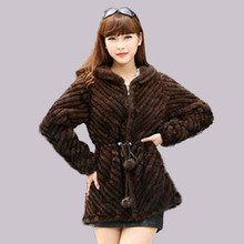 CY 84151 2016 New Women's Top Grade Real Knitted Mink Fur Coat Hoddies With Big Hood Guarantee Winter Style Female Overcoat(China)