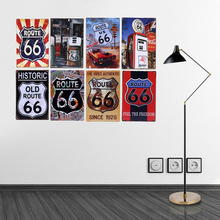 Vintage Route 66 Metal Signs Gas Station Car Oil Garage Bar Pub Home Decor Wall Decorative Plates 20x30cm Retro Poster YN106