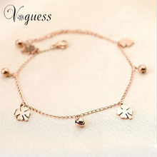 VOGUESS Rose Gold Color Anklet Bracelet Foot Chain Body Jewelry Trendy Flower Anklets For Women Cheap Jewelry