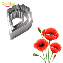 Delidge 3pcs/set 3D Small Peony Flower Stainless Steel Cookie Cutter Baking Pastry Tools Fondant Biscuit DIY Dcorating Tools