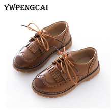 2017 Spring Autumn Children Leather Shoes Classic Vintage Tassel Boys Girls Oxford Shoes Kids PU Leather Lace-Up Shoes(China)