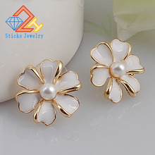New Fashion Big White Flower Ear Charms For Women 2017 kc  Gold Jewelry Bijoux Elegant Gift accessories