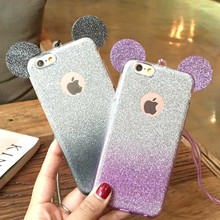 Glitter Minnie Mickey Mouse Ears Soft TPU Case For Samsung Galaxy S7 Edge S6 S5 J5 A5 Transparent Cover Clear Phone Bags Coque(China)