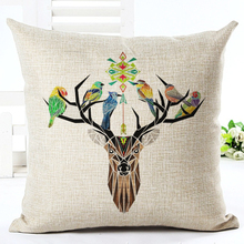 Deer head Style Home Decorative Pillow Elegant Plant Printed Throw Pillow Car Home Decor Fundas Linen Cotton Cushion Cojines