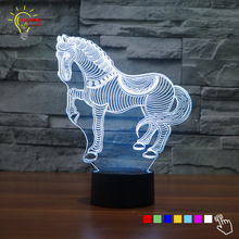 New Running Horse Decoration 3D Table Lamp Animal Lighting LED Color Change Baby Night Light Bedside Desk Projection Lamp Gift(China)