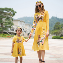 Mother Daughter Dresses Elegant Flower Mom and Girl Daughter Dress Wedding Clothes Cotton Luxury Design Family Matching Outfits