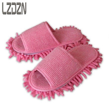 L ho cotton towels wipe slippers washable chenille lazy shoes home floor cleaning rag mop slippers