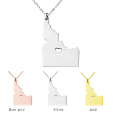 SUTEYI USA Idaho Map Necklace Stainless Steel Personalized Necklaces With A Heart Jewelry Name Gift For Her His