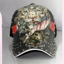 Environmental Advocacy High Quality Baseball Cap Hip Hop Rivets Chinese Style Oil Painting 3D Print Tiger Pattern Cap for Men(China)