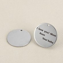 20pcs 25mm Stainless steel DIY accessories handmade jewelry lettering I love you Mom Xoxo Your baby charm for jewelry making