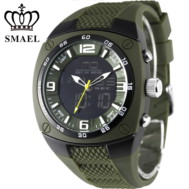 2018 SMAEL Military Army Watches montre homme Men Big Dial Waterproof Sport Watches Led Digital Analog Display Men Wristwatch <br>