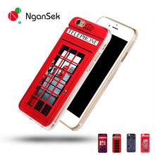 NganSek London Old Fashion Telephone Booth for iPhone SE 4s 5s 6 6s Plus Hard Phone Case Sherlock Holmes in Door 221B Back cover