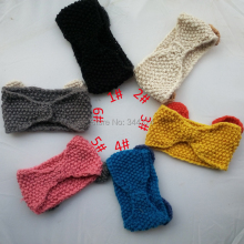 Free shipping 2014 new autumn and winter women's fashion knit crochet flower bow head warm knitted scarf hair band 10 pcs/lot(China)