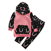 2PCS Toddler Kids Baby Girl Clothes Cute Deer Hooded Sweatshirt Top +Pant Outfit Fashion Children Suit Clothing Set 2-6Y(China)