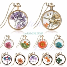 New Living Memory Charms Dried Flower Glass Locket Round Pendant Necklace Chain Hot