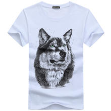 High quality Free shipping    cotton 3d t shirt men 2017 summer new arrvial 3D funny wolf man's T-shirt extended plus size 5XL