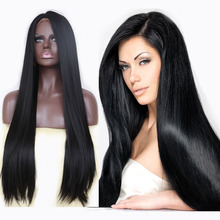 Handmade Straight Black Long Synthetic Lace Front Wig Glueless Middle Parting Space Heat Resistant Brazilian Hair Natural Wigs