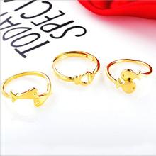 Cuty pure gold color Fish Rings for Women Adjustable Wedding Ring Fashion Girls jewelry Gift