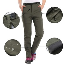 Women Custom Waterproof Thicker Trousers Plus Velvet Punch Pants Climbing Pants(China)