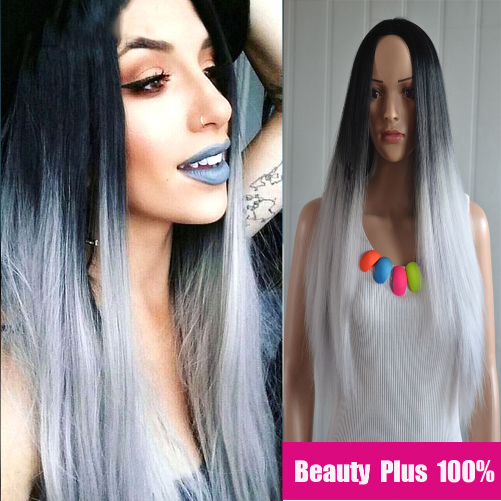 Amir Long Straight Hair Black To Grey Ombre wig Heat Resistant Fiber Synthetic Cosplay Wigs peruca pelucas Synthetic Wigs Grey <br><br>Aliexpress