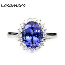 LASAMERO Ring For Women3.25CT Round Cut Ring  Natural Tanzanite Ring Accents 18k Gold  Engagement Wedding Ring