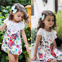 Lovely Nice Baby Kids Girl Lace Floral Dress Princess Party Tutu Dresses Children Girls Summer Clothes