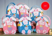 6 Pcs Fashion Design Easter Bunny Rabbit Bag Easter Celebration Gift Bag Egg bag Home Decoration