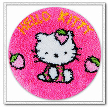 Free Shipping DIY Needlework Kits Unfinshed Crocheting Yarn Mat Latch Hook Rug Kit Floor Mat Cartoon Hello Kitty Picture Carpet