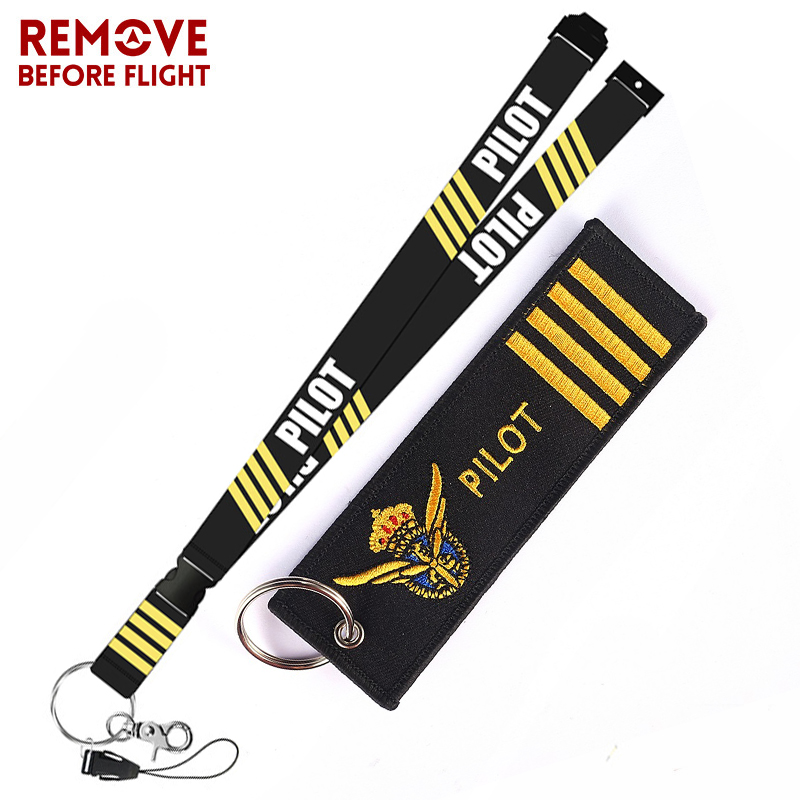 Remove Before Flight Fashion Jewelry Mixed Key Chain Safety Tag Embroidery Pilot Lanyard  for Key Ring Chain Aviation Gifts (5)