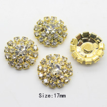 NEW 10Pcs/Set 17MM  Round golden buttons  Rhinestone button DIY Wedding Decoration buckle apparel buttons Free shipping