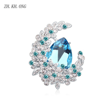 ZH.KH.ONG Fashion Crescent type Flower Brooches for women Big Round Crystal Water droplets Brooches Jewelry Ladies Gift X31(China)