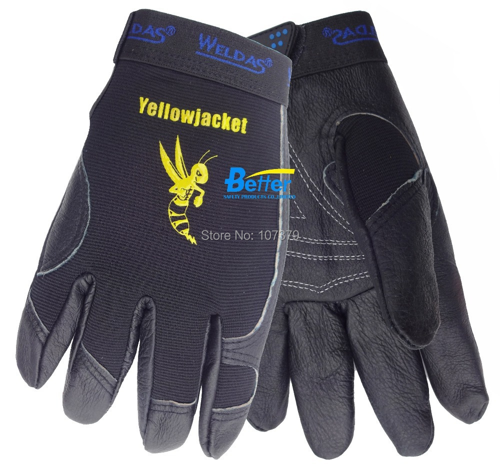 Leather work gloves china - Grain Pig Leather Driver Safety Glove Mechanics Labor Glove Leather Work Glove China Mainland