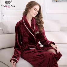 Fashion Women/ Men Flannel Nightgown Gown Bathrobe Sleepwear Nightwear Lounge Robe for Winter Autumn Lovers, red / blue(China)