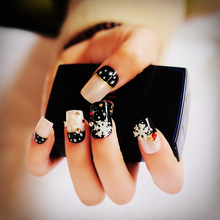 Fake Nail Tips Black Natural Pink French Nails Snowflake Nails Decoration Christmas Must Press On Nail Z904(China)