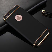 For iPhone 6 Cases 6 7 Plus 5 5S SE Case Luxury Gold Hard Platics PC Removable 3 in 1 Phone Cases For iPhone 7 7 Plus Case(China)