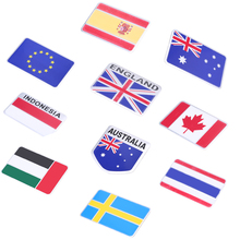 -50% Car Auto Truck Aluminum National Flag Emblem Badge Decal Sweden/Indonesia/Australian/EU Flag Motorcycle Sticker And Decals