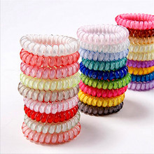5pcs/pack Telephone wire Gum for Hair Elastic Code Bands For Girl Rope candy color Hair Accessory Maker Tools(China)