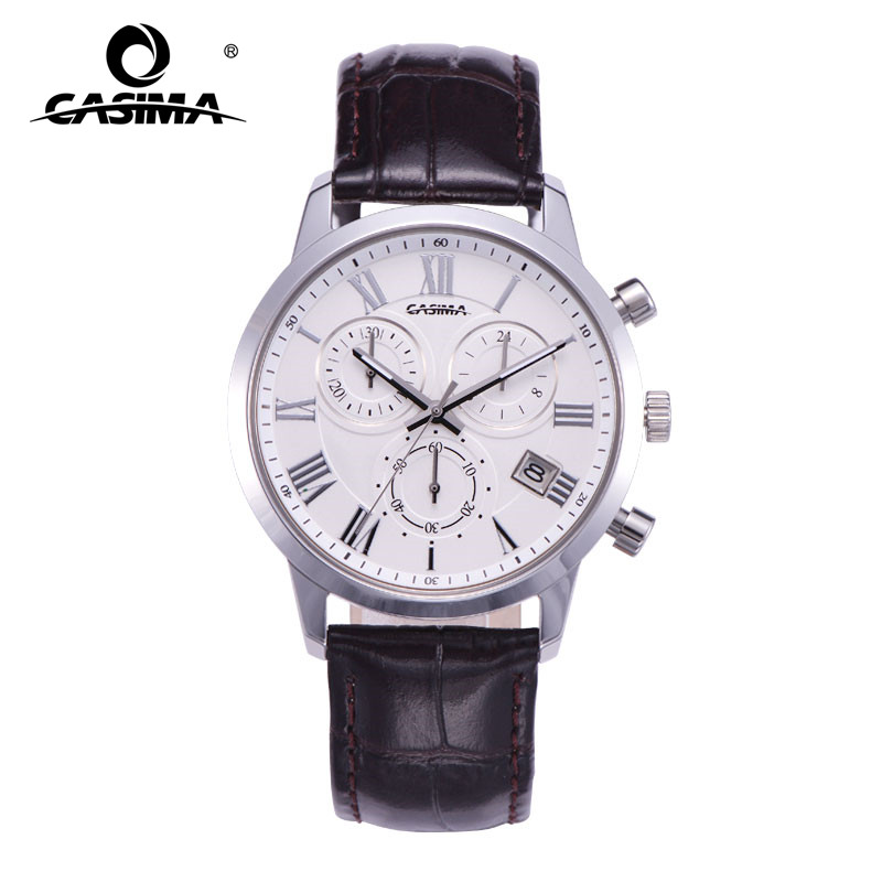 CASIMA men fashion business luminous waterproof leather watch band quartz Mens Watch with date chronograph 5120<br>