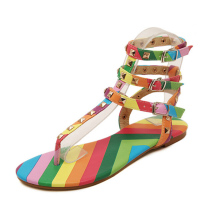 Brand same design rainbow color sandal women rilvet T-ankle strap flat sandal lady patchwork color flipflop sandal summer shoes