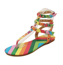 Brand same design rainbow color sandal women rilvet T-ankle strap flat sandal lady patchwork color flipflop sandal summer shoes(China)