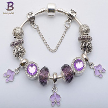 BAOPON 3 Color Silver Plated Beads Jewelry charm Bracelet For Women BEST WISH Birthday Gift for Friend&Family BR004