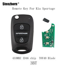 Stenzhorn 433Mhz Replace Flip Car Remote Key Fob For Kia Sportage 2010 2011 2012 2013 TOY40 Blade ID4 chip car keys(China)