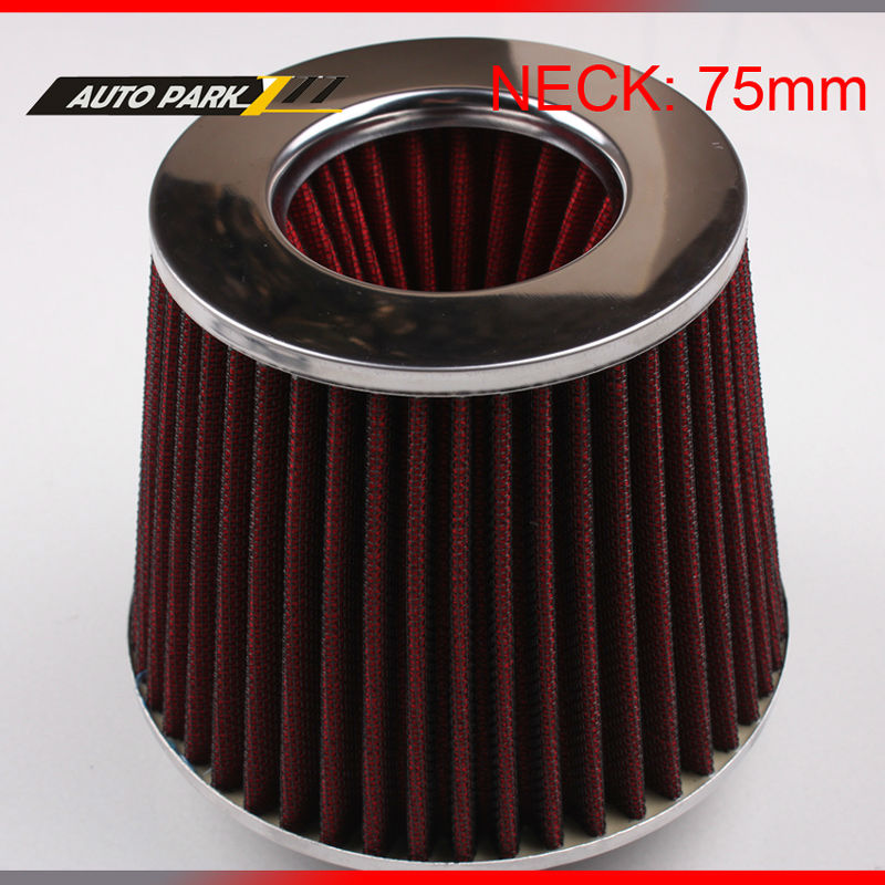 wholesale neck 75 mm auto air filter turbo high flow racing cold air intake filter washable mushroom head air filter car
