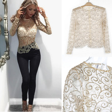 Sequined T-shirt Women Summer Tops Tees Long Sleeve Hollow Out see through O-neck Sexy T Shirt Party Club Shirts KH962380