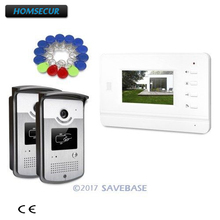 "HOMSECUR 4.3""Video Door Phone Intercom System Electric Lock Supported for Home Security With 2 Outdoor Units+1 Indoor Unit(China)"
