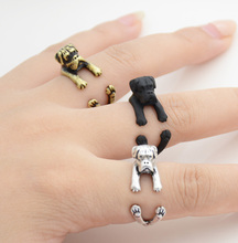 Drop Shipping Punk Vintage 3D Boxer Ring Fashion Boho Chic Retro Boxer Puppy Wrap Ring Anillos Dog Rings For Women Men Jewelry