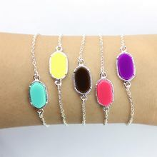 Silver Tone Mini Oval Brand Cute Bracelets for Women 16 Colors Option(China)