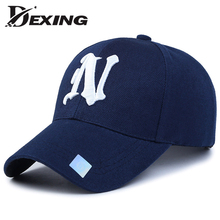[Dexing]brand cap men summer Black Adult Unisex Casual Solid Adjustable Baseball cap Snapback curved Visor cap N Y casquette